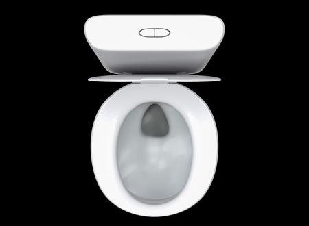 Renderowanie 3D WC sedan na widok z góry samodzielnie na czarnym tle.