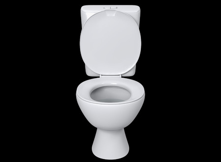 toilet seat top view. 3D Rendering Front View Toilet Seat Detail Isolated On Black Background. Photo Top X