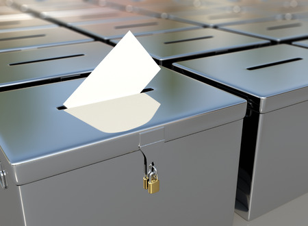 balloting: 3D rendering metal ballot boxes and vote card.