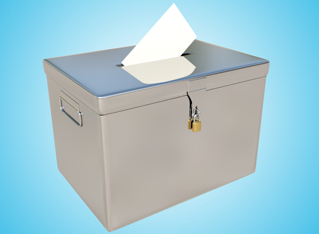 designate: 3D rendering metal ballot boxes and vote card on a blue gradient background with clipping paths.