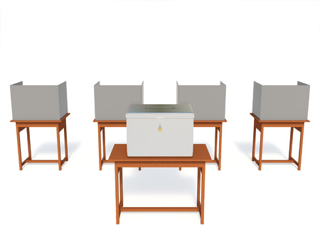 encuestando: 3D centro de votación electoral stand aislado en fondo blanco con una trazados de recorte.