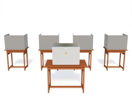 Rendu 3D isoloir du bureau de vote isolé sur fond blanc avec des chemins de détourage.