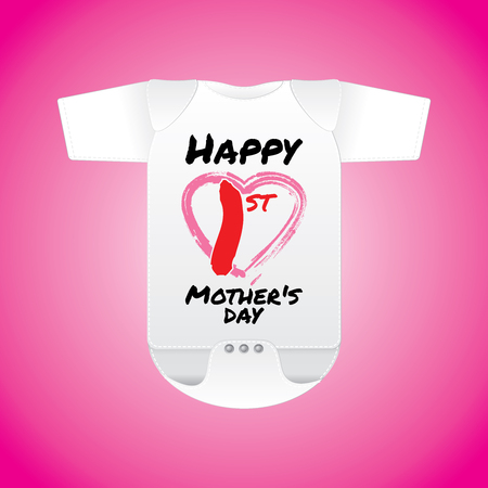 pinafore: Baby clothes in white with word Happy 1st Mothers Day - vector illustrations.