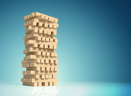 objects with clipping paths: Block wood game with a copy space and clipping paths on a blue gradient background.  Business and construction concept.  Planning, risk and strategy of project management in business.