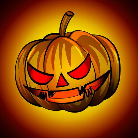 Jack-o-lanterns orange pumpkin head with a scary expression. pumpkin head for Halloween.