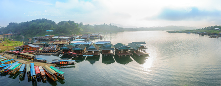 Kanchanaburi, Thailand - December 2016 - Panorama scene of Mon Wooden Bridge, Sungklaburi in the morning. on December 3, 2016, in Sangkhlaburi District, Kanchanaburi Province, Thailand. Editorial