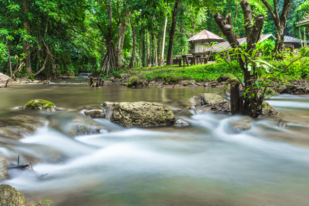 In the middle of the streamlet at Khao Laem National Park Kanchanaburi district, Thailand.