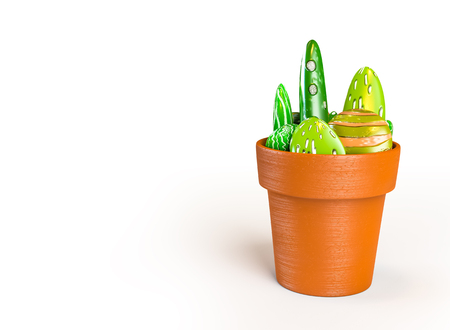3D rendering of stones decoration on a pot like a cactus with a clipping paths.