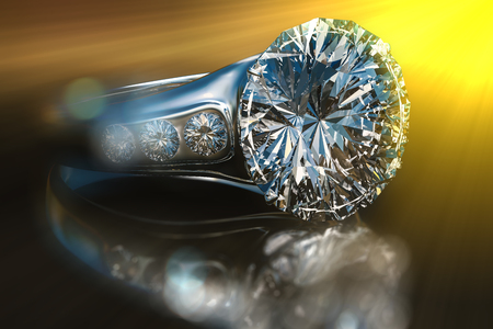 caras emociones: 3d rendering of closeup diamond ring with yellow ray light and bokeh in dark environment. Foto de archivo