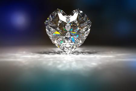 ruby: 3d rendering of Diamon heart shape in a dark environment. Stock Photo