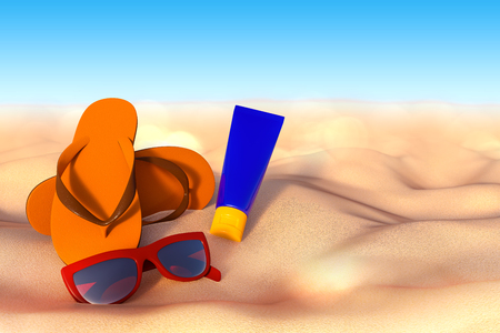 3D rendering of accessories for vacation on the sand at beach, sunglasses, flip flops and sunscreen bottle.