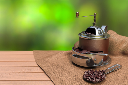 3D rendering of a brown vintage coffee grinder with coffee beans on a spoon with green nature bokeh background.