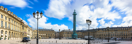obelisk stone: Paris, France - May 2, 2017: Panoramic views of Place Vend�me square with blue sky and cloudy on May 2, 2017, in Paris, France.