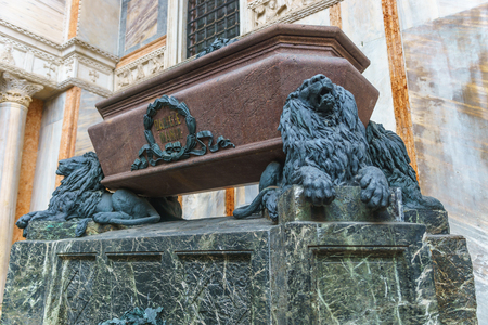 Venice, Italy - April 27, 2017: The tomb of Daniele Manin on th north side of Basilica San Marco in Venice, Italy. Editorial