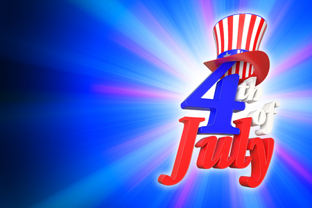 3D rendering of 4th of July, Independence day in the United State of America on blue gradient background with clipping paths for easy to cut out.