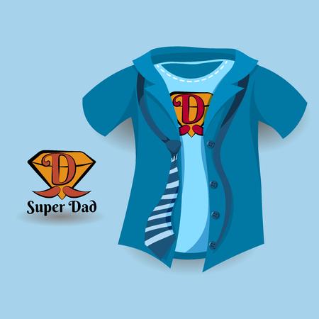 超级爸爸,父亲节的在一件蓝色衬衣的概念设计有爸爸标志的。