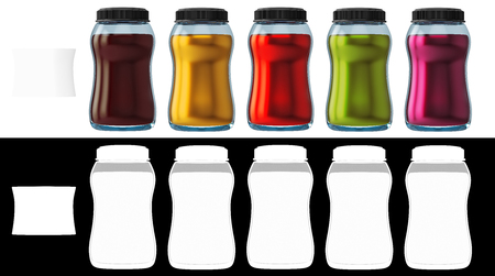 3d rendering of a set of bottles with various colors about, red, green, yellow, brown, violet, and white badge on white background with alpha channel section for easy cut out the background.