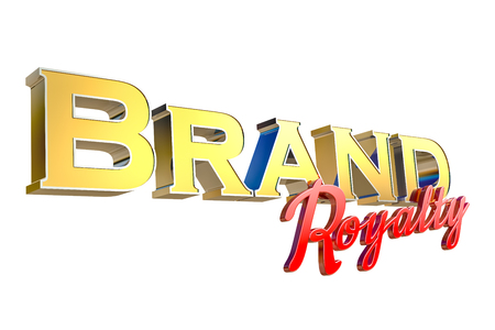 3d rendering of word Brand Royalty isolated on white background with clipping paths.