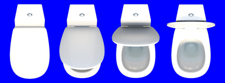 empty the bowel: 3d rendering top view of a set of toilet seat isolated on a blue background for easy to split out. Stock Photo