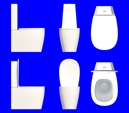 empty the bowel: 3d rendering a set of toilet seat isolated on a blue background for easy to split out. Stock Photo