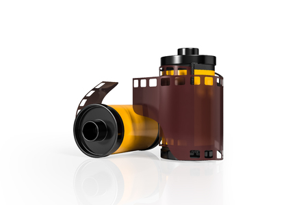 3d rendering front view of yellow film camera rolls isolated on white background with clipping paths. Stock Photo