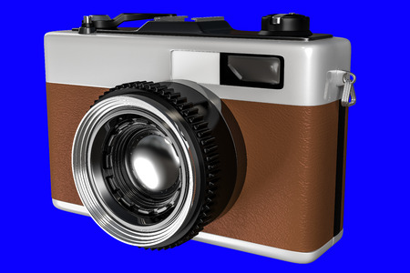 3d rendering of old retro camera isolated on a blue background for easy to split out. Stock Photo