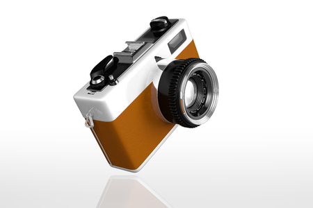 arte optico: 3d rendering of a retro vintage camera isolated on white background