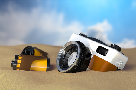 3d rendering view of the retro vintage camera with film rolls lay on the sand beach with blue sky background.