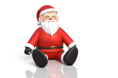 3D rendering of Santa Claus sitting on a white background with reflection isolated on the floor with clipping paths included.
