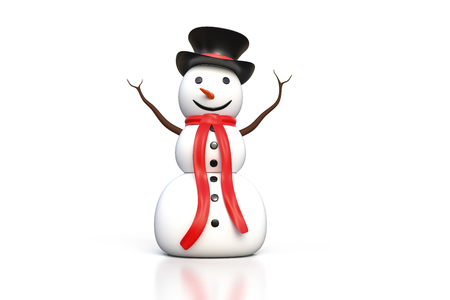 3d rendering of the snowman with black hat and red scarf isolated on white background with clipping path included. Stock Photo