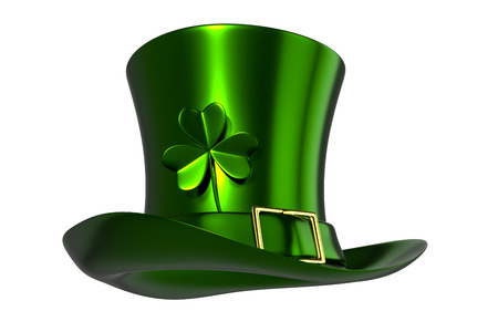 3d rendering of a Green hat with clover of St. Patricks Day, isolated on white background with clipping paths included for split background.