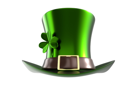 3d rendering front view of a Green hat with clover of St. Patricks Day, isolated on white background with clipping paths included for split background.