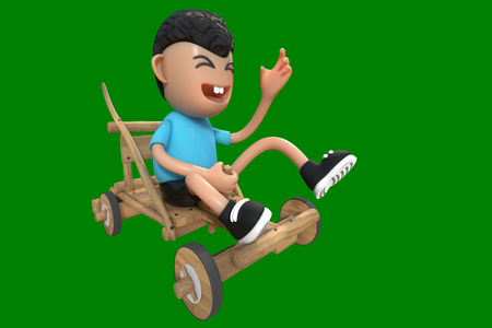3d rendering of a cute boy character wearing blue t-shirt playing a wooden cart with smiling face, isolated on a green background with clipping paths included.