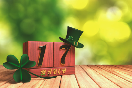 3d rendering of the block calendar 17 March for St Patricks Day with green top hat and shamrock on wooden floor with green bokeh background. Stock Photo