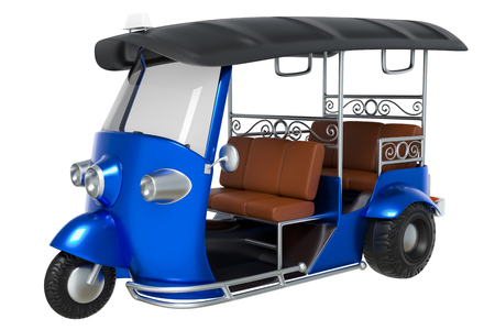 3d rendering cartoon style of Tuk Tuk, Thai traditional taxi for public transportation, isolated on white background