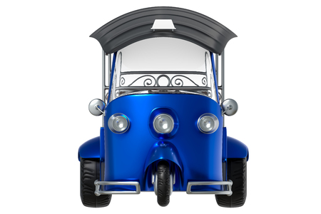 3d rendering front views isometric cartoon style of Tuk Tuk, Thai traditional taxi for public transportation, isolated on white background with clipping paths.