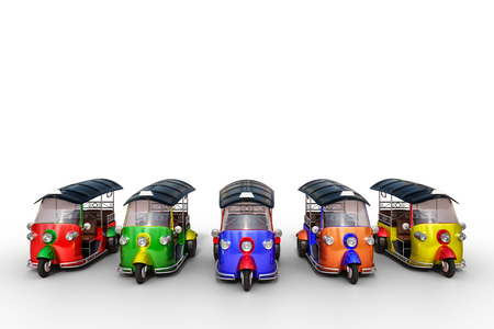 3d rendering front row of multicolor beautiful Tuk Tuk, Thai traditional taxi for public transportation, isolated on white background.
