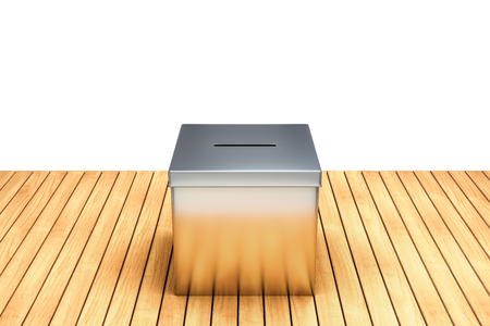 3d rendering of Metal chrome election box on wooden table isolated on white background