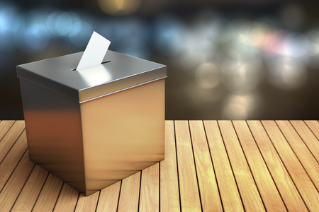 3d rendering of Metal chrome election box on the wooden table with night light bokeh background with clipping paths.