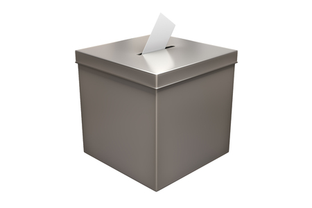 3d rendering of Metal chrome election box isolated on white background with clipping paths. Stock Photo