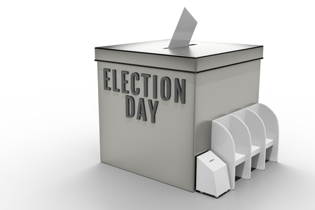 3d rendering of Metal chrome election box with election booth isolated on white background with clipping paths. Stock Photo