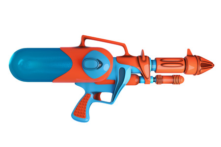 3D rendering side view of water gun orange and blue colors isolated on white background with clipping paths for Songkran festival in Thailand. Stock Photo