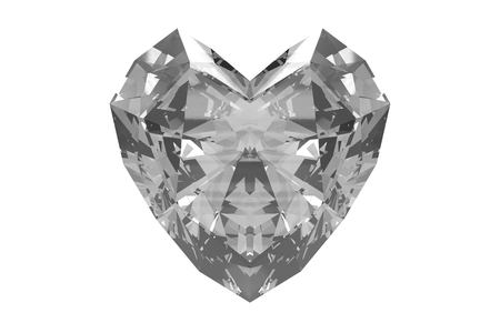 3d rendering of a close up shot of diamond heart shape isolated on white background with clipping paths. Stock Photo