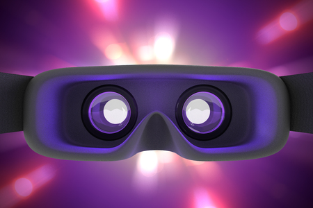 3D rendering of the rear inside view of concept design virtual reality headset on purple light motion background with clipping paths.