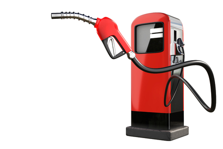 Le rendu 3D d'un pistolet à gaz rouge avec des pompes de distribution d'essence isolé sur fond blanc Banque d'images