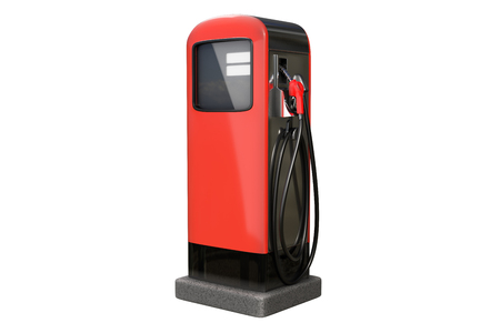 3d rendering of Red vintage gasoline pump isolated on white background Stok Fotoğraf