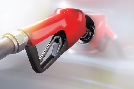 3d rendering of red gasoline dispenser refueling to a white car with sunlighting.
