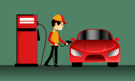 The smart fuel pump boy holding a gasoline nozzle to filling oil at the red car on a green background.