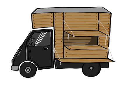 Side view of a black retro food truck with a wooden cabin in cartoon doodle drawing style, isolated on white background.