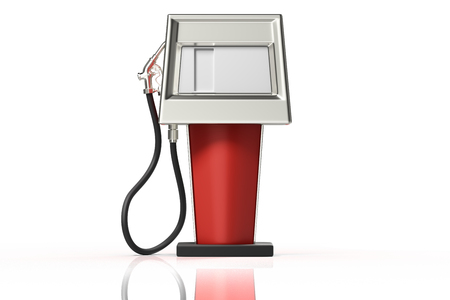 3d rendering front view of a red retro gasoline dispenser pumps isolated on white background with clipping paths. Stock Photo